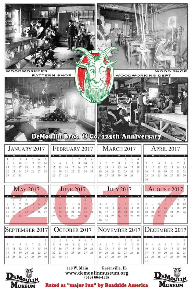 First DeMoulin Museum Calendar, featuring four early 1900s photos of the DeMoulin factory.
