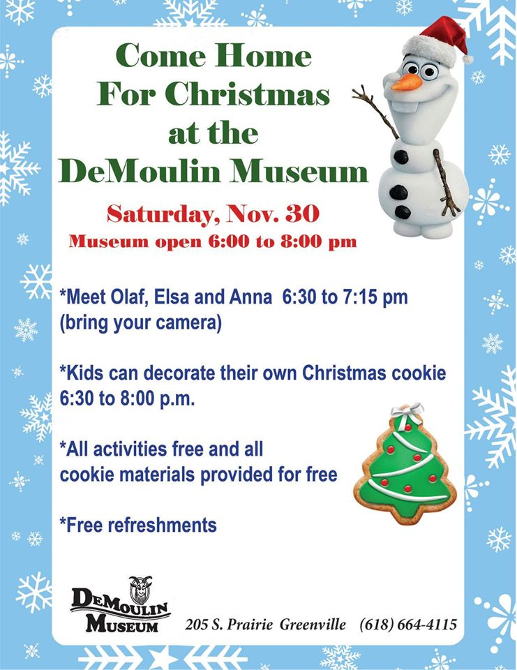 Come Home For Christmas Activities at the museum November 30th