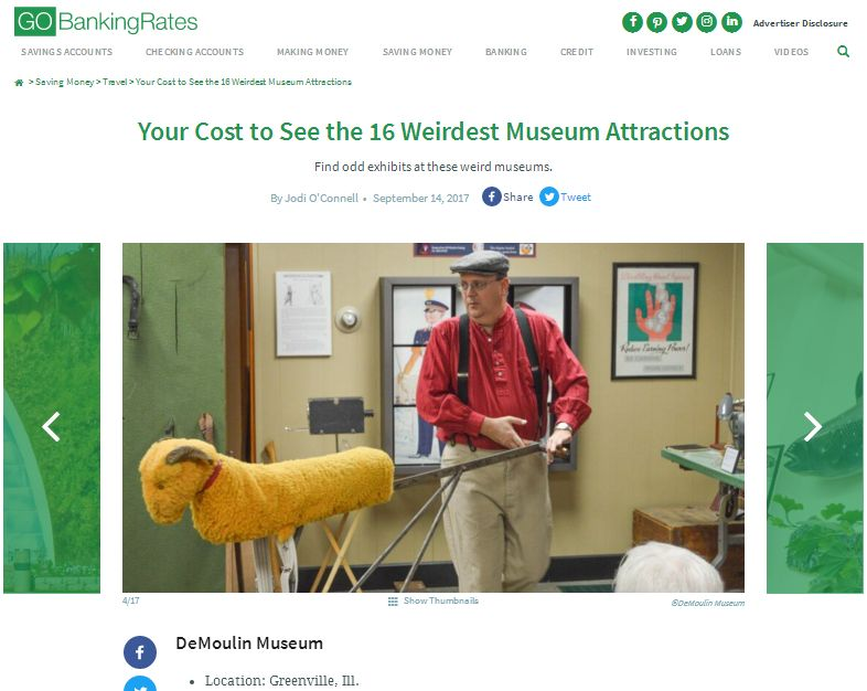 GoBankingRates Your Cost to See the 16 Weirdest Museum Attractions website screenshot.