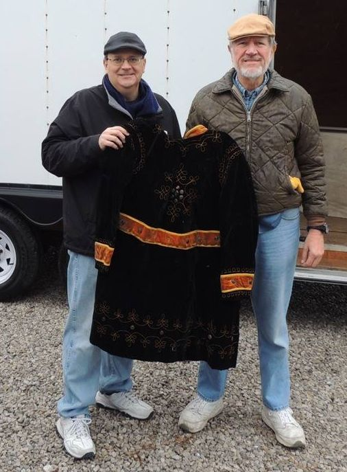 DeMoulin Museum curator John Goldsmith (l) with Bob Seiffert from the Carlyle IOOF lodge.