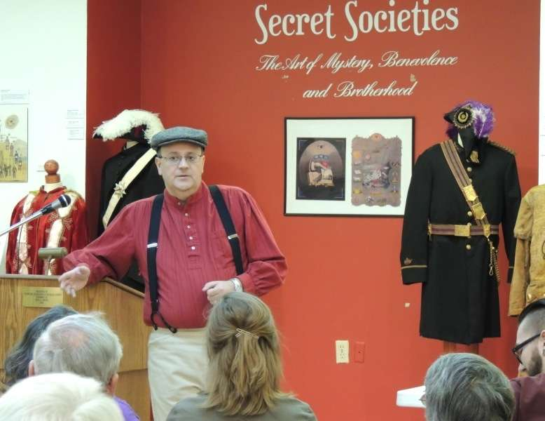 John Goldsmith, DeMoulin Museum curator, speaks at the Douglas County Museum in Tuscola, Illinois.